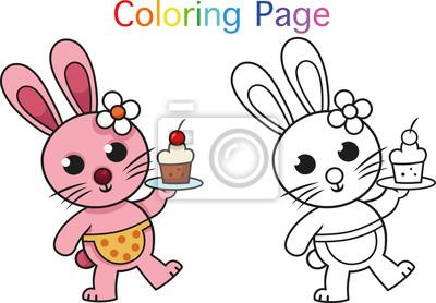Fototapete Kaninchen Ausmalbilder Für Kinder Vector Illustration