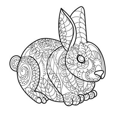 Kaninchen Hase Färbung Buch Vektor-Illustration
