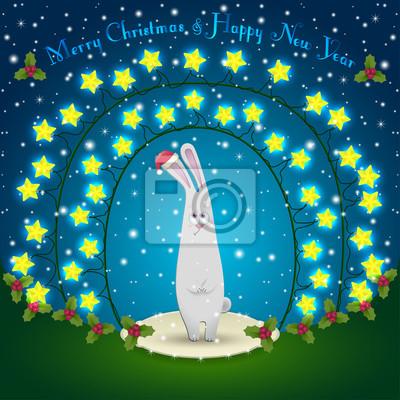 Kaninchen in den Weihnachtsschmuck