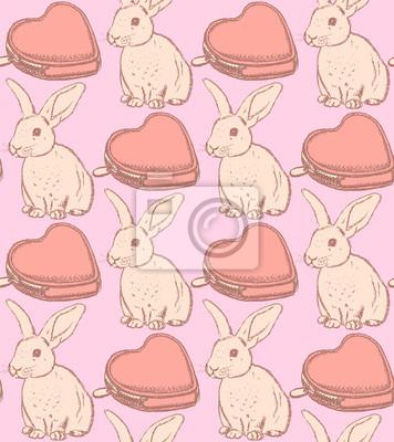 Kaninchen und Herz-Brieftasche Skizze, Vektor nahtlose Muster