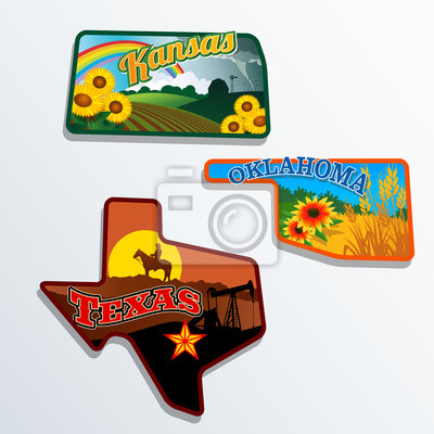 Kansas, Oklahoma, Texas illustrierte Retro-Designs