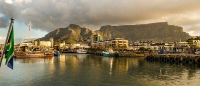 Fototapete Kapstadt, Sudafrica, Ufergegend, Tramonto, Tafelberg