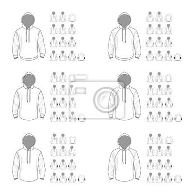 Kapuzen-sweatshirt-vorlage verschiedene vektor-modelle, vorder-und ...