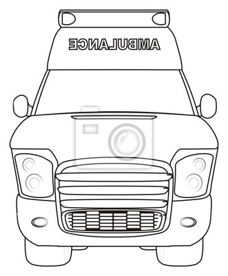 Karikatur, auto, krankenwagen, transport, blitzgeber, medizin ...