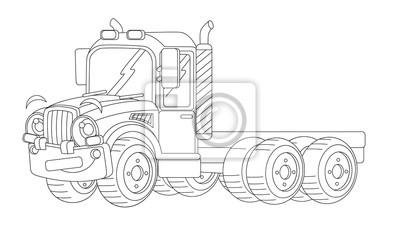 Karikatur Happy Cargo Truck Ohne Anhänger Ausmalbilder