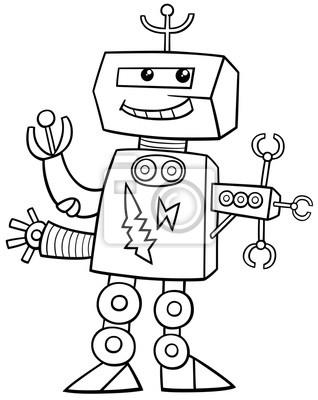 Fototapete Karikatur Roboter Ausmalbild