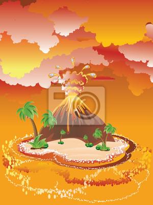 Karikatur Vulkan Eruption Fototapete Fototapeten Ausbrechenden