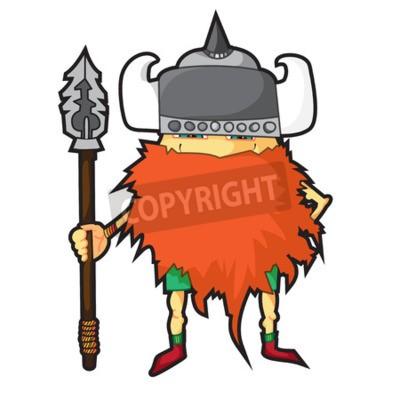 Karikatur Wikinger Isolierte Gegenstande Vector Viking Mit
