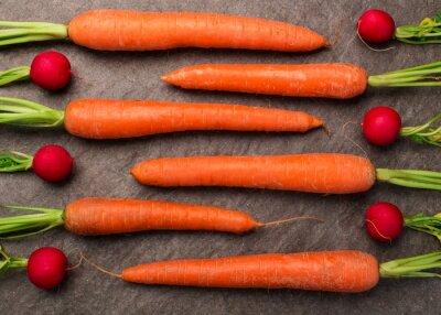 Fototapete Karotten und Radieschen auf einer Granitplatte arrangiert, Draufsicht