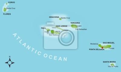 Azoren Karte.Fototapete Karte Azoren Vektor
