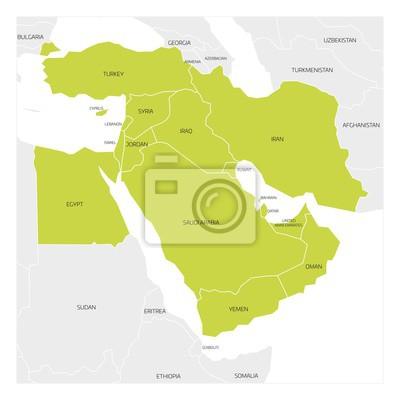 Nahost Karte.Fototapete Karte Der Nahost Oder Nahost Transkontinentalregion Mit Grün