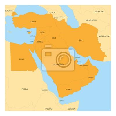 Nahost Karte.Fototapete Karte Der Nahost Oder Nahost Transkontinentalregion Mit Orangefarbenen