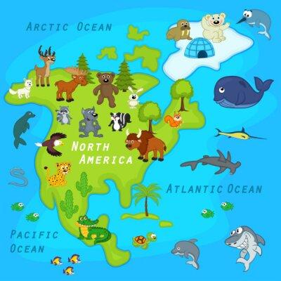 Fototapete Karte der Nordamerika mit Tieren - Vektor-Illustration, eps