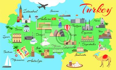 Karte Türkei.Fototapete Karte Der Türkei Mit Hauptsehenswürdigkeiten Für Touristen Türkische