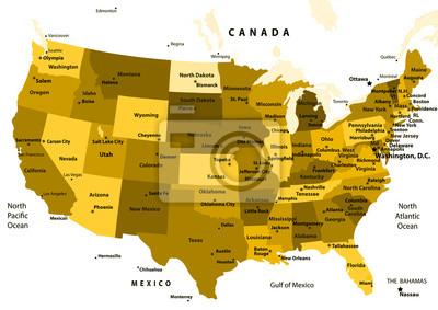 Usa Staaten Karte Mit Hauptstädten.Fototapete Karte Der Usa Mit Staaten Und Hauptstädte