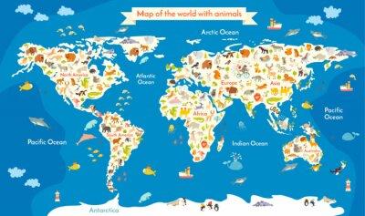 Karte der Welt mit Tieren. Schöne bunte Vektor-Illustration mit der Inschrift der Ozeane und Kontinente. Vorschule, für Baby, Kinder, Kinder und alle Menschen