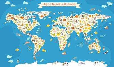 Fototapete Karte der Welt mit Tieren. Schöne bunte Vektor-Illustration. Vorschule, für Baby, Kinder, Kinder und alle Menschen
