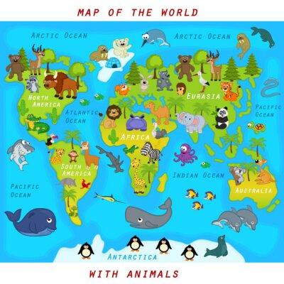 Fototapete Karte der Welt mit Tieren - Vektor-Illustration, eps