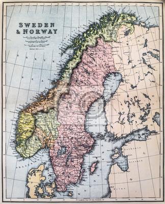 Karte Norwegen Schweden.Fototapete Karte Des 19 Jahrhunderts Schweden Und Norwegen
