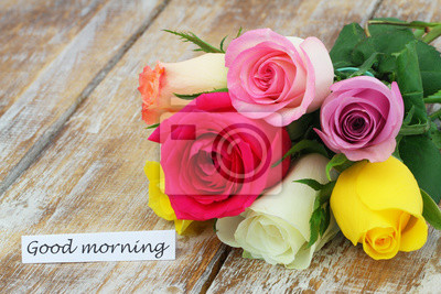 Karte Des Gutenmorgens Mit Buntem Rosafarbenem Blumenstrauß