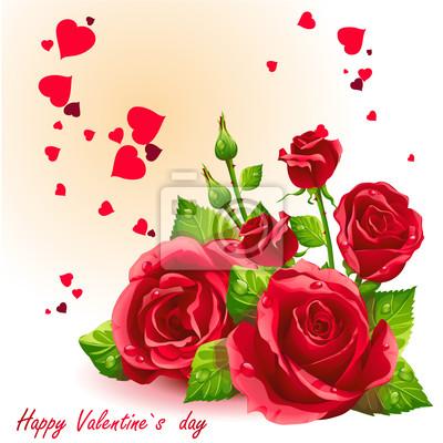 Karte für Tag Valentinstag rote Rosen.