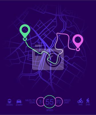 Karte Gps Navigation Stadt Strecke Vektor Mobil