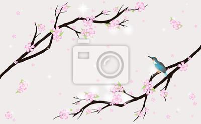 Karte mit stilisierten Kirschblüten und ein Vogel.