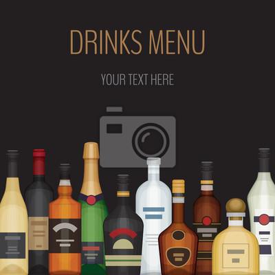 Karte mit verschiedenen alkoholflasche. alkoholische getränke ...