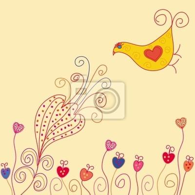 Karte mit Vogel-und Sommer-Blume