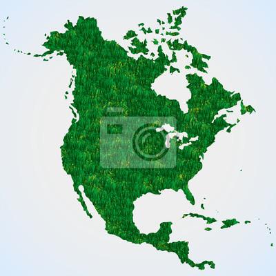 Karte Nordamerikas.Fototapete Karte Nordamerika Aus Gras
