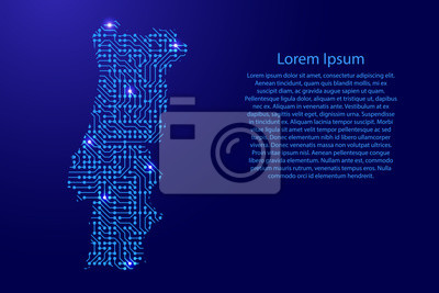Karte portugal von platine, chip und radio-komponente mit blauen ...