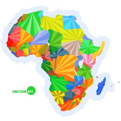 Fototapete Karte von Afrika. Konzept Karte mit Ländern Bunte Afrika Karte, abstrakte Hintergrund Design Infografik, Afrika Karte in polygonalen Origami Vektor-Illustration Logo-Design