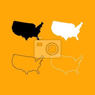 Amerika Karte Schwarz Weiß.Fototapete Karte Von Amerika Stellte Schwarzweiss Ikone Ein