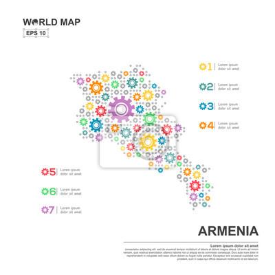 Karte von armenien infografik-design-vorlage mit getriebe-kette ...