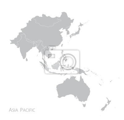 Fototapete Karte von Asien-Pazifik
