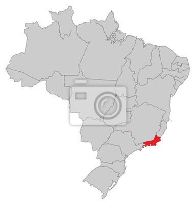 Rio De Janeiro Karte.Fototapete Karte Von Brasilien Rio De Janeiro
