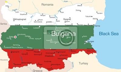Karte Bulgarien.Fototapete Karte Von Bulgarien Land Gefarbt Durch Nationale Flagge