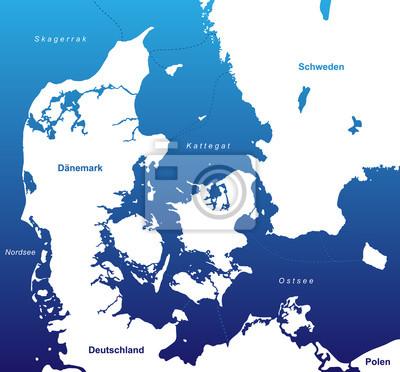 Dänemark Nordsee Karte.Fototapete Karte Von Dänemark Blau Weiß Kunst