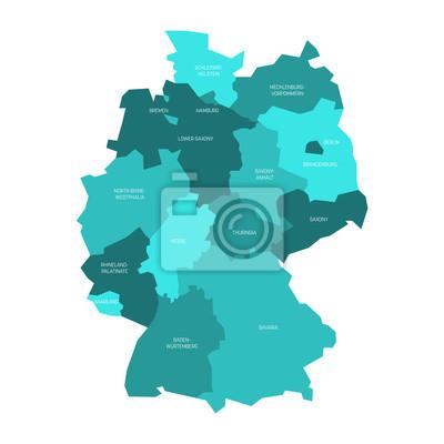 Deutschland Karte Bundesländer Schwarz Weiß.Fototapete Karte Von Deutschland Geteilt Auf 13 Bundesländer Und 3 Stadt Staaten