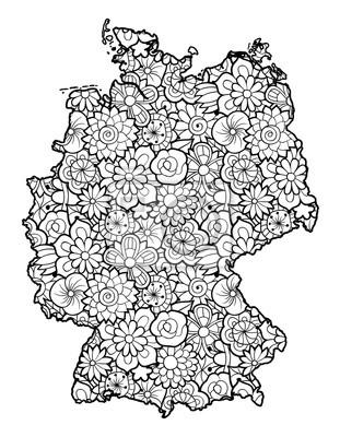 Karte von deutschland mit blumen. schwarz-weiß-vektor-illustration ...
