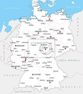 Deutschland Karte Städte.Fototapete Karte Von Deutschland Mit Städten Und Provinzen In Hellen Farben