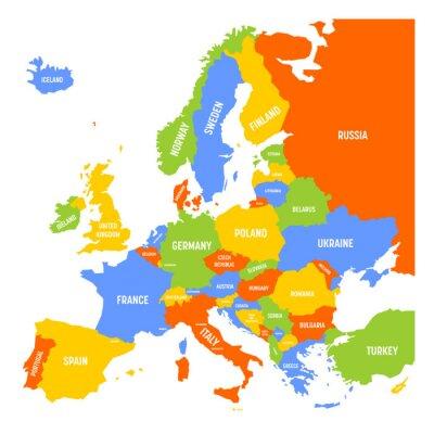 Kosovo Karte Europa.Fototapete Karte Von Europa Mit Namen Von Souveranen Landern Ministaten