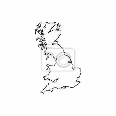 Großbritannien Karte Umriss.Fototapete Karte Von Großbritannien Symbol Im Umriss Stil Isoliert Auf Weißem
