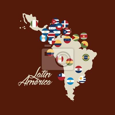 Lateinamerika Karte Länder.Fototapete Karte Von Lateinamerika Mit Den Flaggen Der Länder Bunten Design