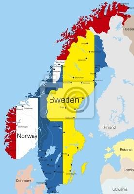 Karte Norwegen Schweden.Fototapete Karte Von Norwegen Und Schweden Land Gefarbt Durch Nationale