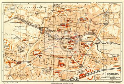 Nürnberg Karte Deutschland.Fototapete Karte Von Nürnberg Deutschland Von Meyers Lexikon 1896 13 58 59