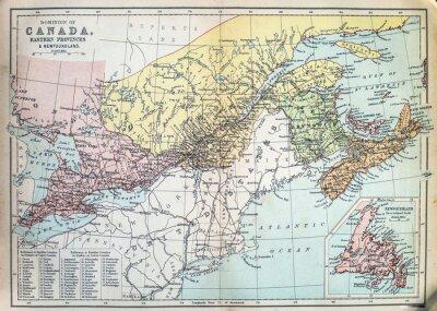 Fototapete Karte von östlichen Provinzen von Kanada