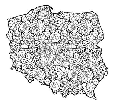 Karte von polen mit blumen. schwarz-weiß-vektor-illustration ...