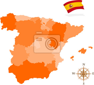 Spanien Karte Regionen.Fototapete Karte Von Spanien Regionen