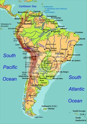 Südamerika Karte Länder.Fototapete Karte Von Südamerika Die Namen Der Länder Städte Und Flüsse